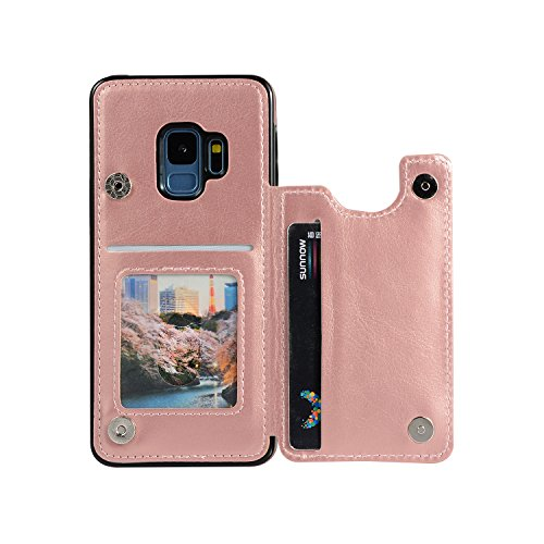 """Wallet Case Galaxy S9, XRPow S9 Slim Protective Case with Credit Card Slot Holder for Women Folio Soft PU Leather Magnetic Closure Flip Cover for Samsung Galaxy S9 5.8"""" (Rose Gold)"""