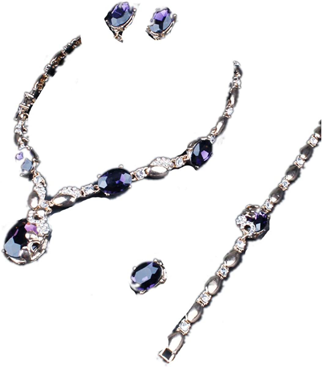 ENUUNO Bridal prom costume jewelry for women purple and Green Crystal Choker Pendant Bib Statement Charm Necklace and Earrings Ring Bracelets wedding jewelry sets for brides