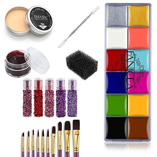 FANICEA Professional Special Effects SFX Makeup Kit with Wound Modeling Scar Wax, Face Body Paint Oil, Purple Brushes, Spatula Tool, Stipple Sponge, Coagulated Blood, 5 Pcs Glitter Nail Sequins