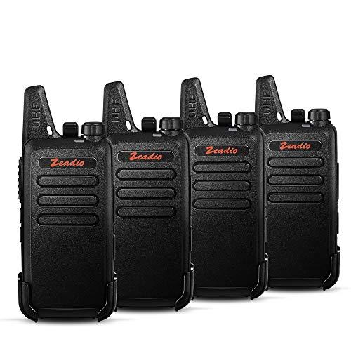 Zeadio Walkie-Talkie Slim PMR446, 16 Canales con Clip de cinturón, Cargador USB y batería Recargable 1500mAh (2 Par)