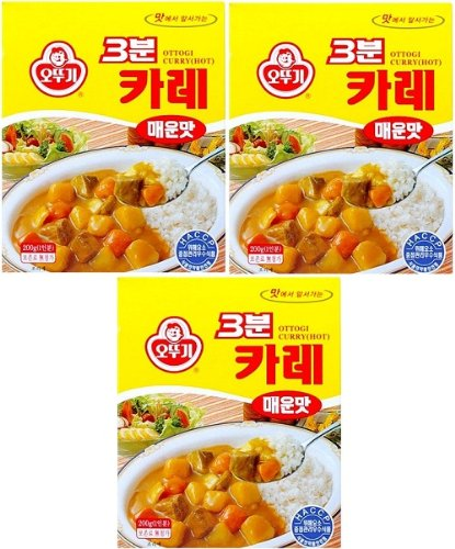 Ottogi 3 Minute Curry Spicy Flavor, Product of Korea 6.7 Oz Each: 3 Packs
