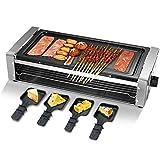 HUIDANGJIA Raclette Grill Electrico con Plancha Reversible,Raclette 4 Personas/Parrilla de Mesa, Acero Inoxidable, Sartenes, 1500 W,Incluye 4 Mini-Sartenes