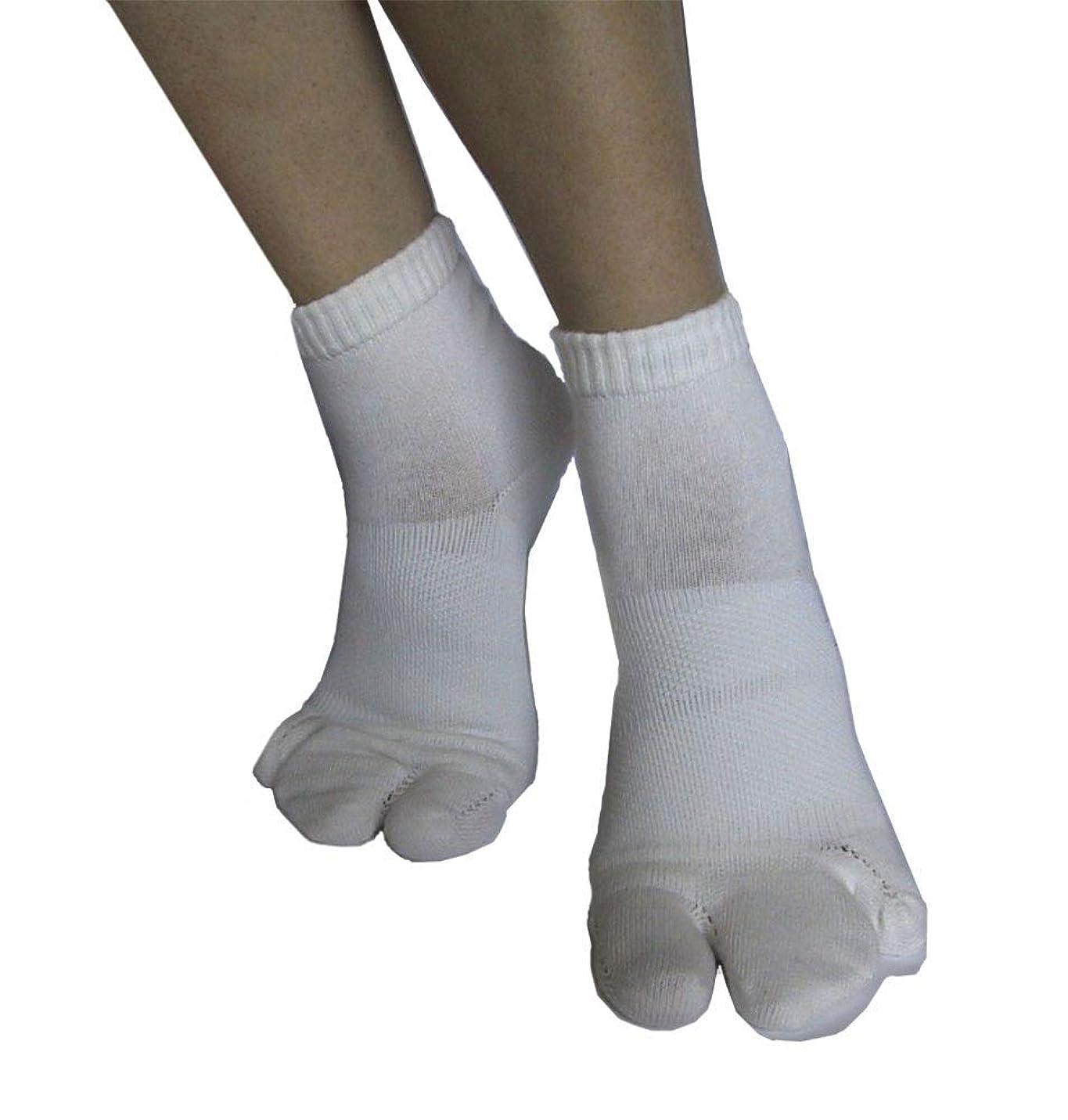 移動する将来のホイットニーカサハラ式サポーター ホソックス3本指テーピング靴下  ホワイト L25-26cm