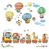 DECOWALL 動物電車 動物熱気球 ウォール ステッカー デコ 幼稚園 保育園 子供部屋 (特大)DL-1406L