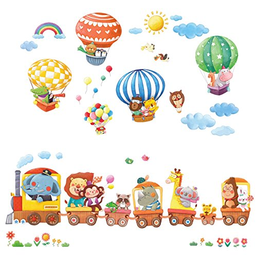 Tren de Animales y Globos Aerostáticos Vinilo Pegatinas Decorativas Adhesiva Pared Dormitorio Salón Guardería Habitación Infantiles Niños Bebés (Extra Grandede)