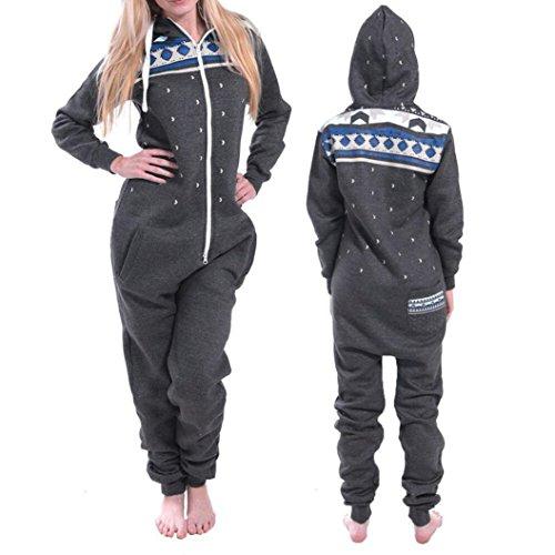 Elecenty Damen 3D Drucken Jumpsuit Schlafanzug Frauen Langarm Weihnachten Elch Winter warm lang mit Kapuze Overall (Dunkelgrau) - 3