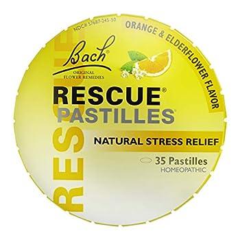 Bach RESCUE PASTILLES Orange and Elderflower Flavor Natural Stress Relief Lozenges Homeopathic Flower Remedy Vegetarian Gluten and Sugar-Free 35 Count