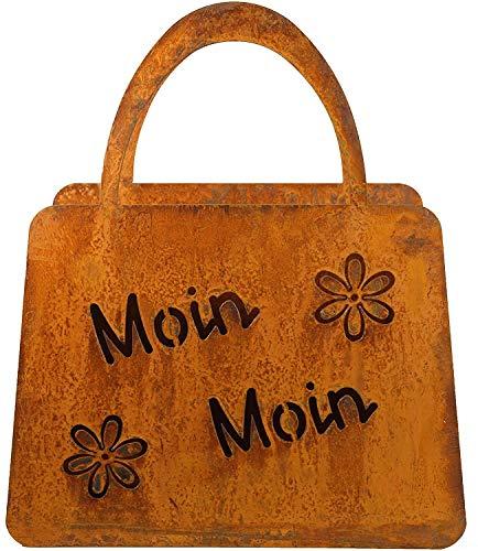 Bornhöft Tasche zum Bepflanzen Windlicht Beetdeko Metall Rost Gartendeko 27cm x 32cm Edelrost rostige Deko für den Garten (Moin Moin)