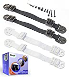 Anti-Tip Tv and Furniture Anchor Strap (2 Pairs) by Boxiki Kids. Black & White Child and Home Safety Strap. Furniture and Tv Drop Prevention Accessory for Child Proofing Your Home.