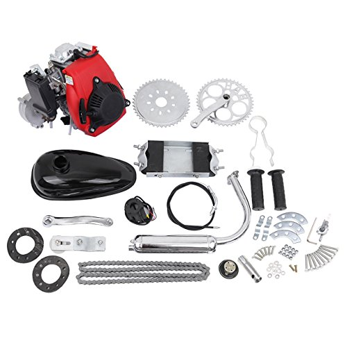 MOTOOS 49CC 4 Stroke Motorized Cycle Petrol Gas Engine Motor Kit Compatible with Normal 28' V Frame Bike and 26' ATV Bike Bicycle Full Set