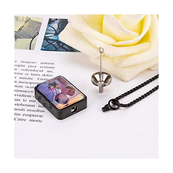 Fanery Sue Personalized Photo Cremation Urn Necklace for Ashes Custom Engraving Pendant Memorial Keepsake Jewelry with Filling Tool(Rectangle- Black)