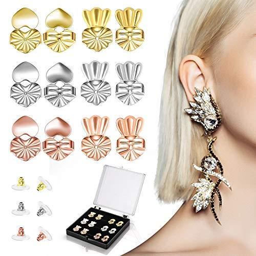 MOLIK Earring Lifters Backs 6 Pairs Adjustable Hypoallergenic Earring Secure Backs Lifter for Droopy Ear Heavy Earring