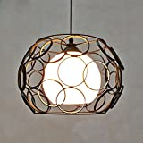 WarmHome semplicità contemporanea Lampadario Creativo Lampadario in Vetro Lampadario Antico di Design personalità Cubo di Ferro Lampada Edison Vintage E27 Nero