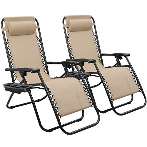 Devoko Patio Zero Gravity Chair Outdoor Folding Adjustable Reclining Chairs Pool Side Using Lawn Lounge Chair with Pillow Set of 2 (Brown)