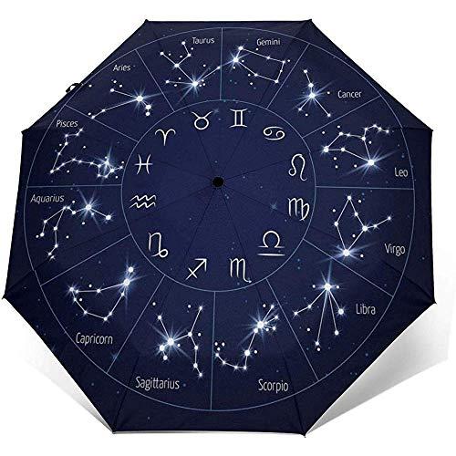 Ombrello da viaggio antivento stampato illustrazione artistica della costellazione dello zodiaco - baldacchino rinforzato antivento