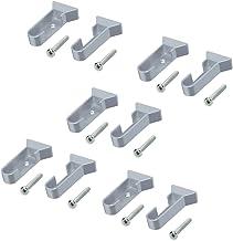 Emuca 7060925 Juego de soportes laterales para barra de armario oval, Gris metalizado, Lote de 5