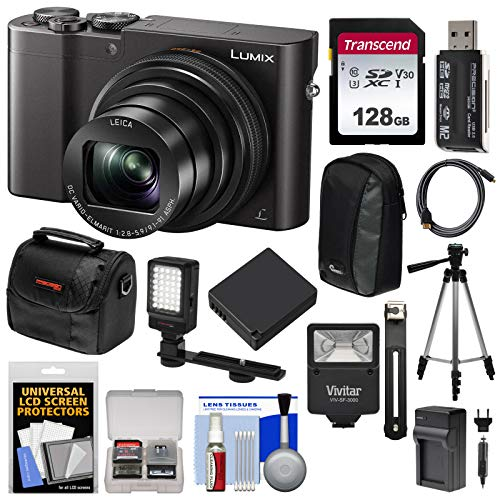 Panasonic Lumix DMC-ZS100 4K Wi-Fi Digital Camera (Black) with 128GB Card + Cases + Battery + Charger + Tripod + Flash + Kit