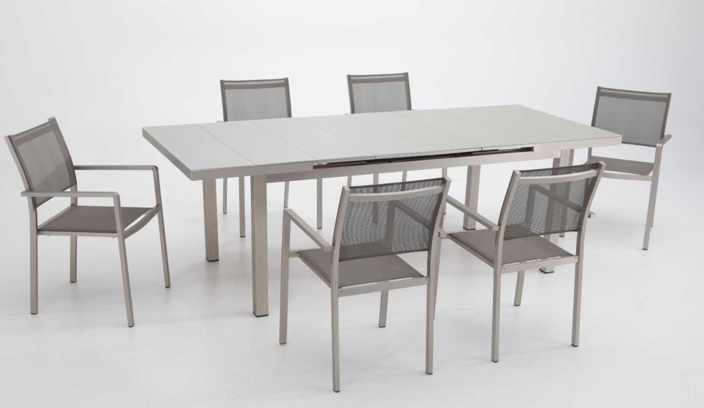 Conjunto terraza y jardin aluminio anodizado mesa extensible 6 sillas: Amazon.es: Jardín