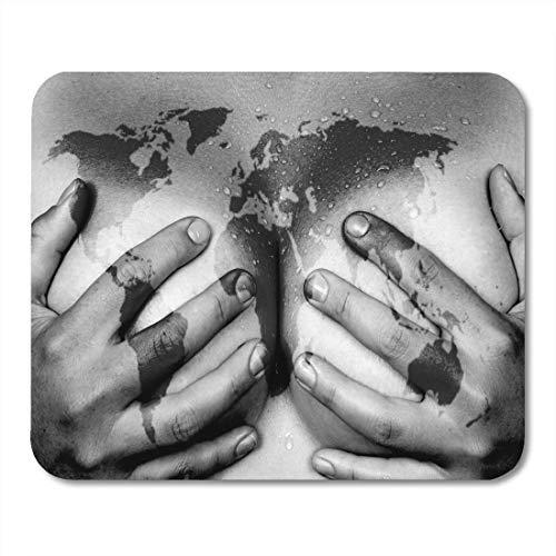 Gaming Mouse Pad Sex Verschwitzter Oberer Teil Des Weiblichen Körpers Hände Bedecken Brüste Weltkarte Afrika Sexy Rechteck Maus Matte Rutschfeste Gummibasis Mousepads Für Computer, Laptop