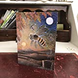 The Amber Journey | Greetings Card by Hannah Willow | Featuring A Bee and A Skep in A Moonlit Landscape | 7 by 5 inches | Artistic Birthday Card