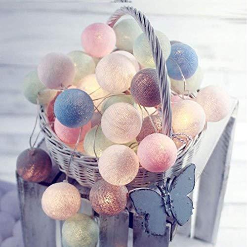 ROYWY Cotton Ball Lichterkette USB/Batteriebetrieben,3 m 20 Pcs,Partylichterkette Deko für Zimmer,Balkon,Home,Party,Hochzeit,Feiertag,Warmweiß Cotton Ball [Energieklasse A+++],Macaron,USB