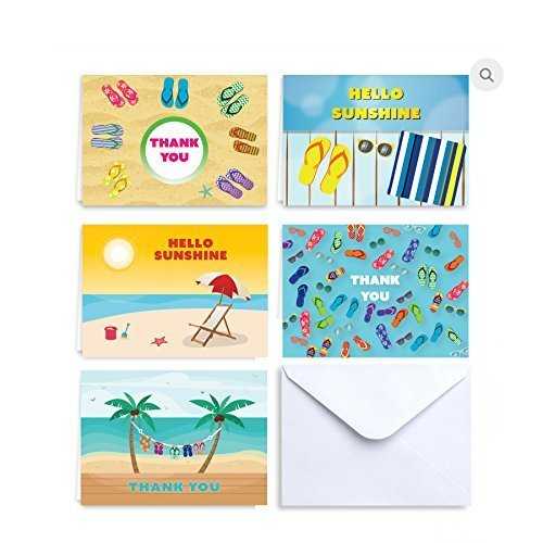 Paper Frenzy Hello Sunshine Summer Notes and Thank You Cards - 25 pack with White Envelopes