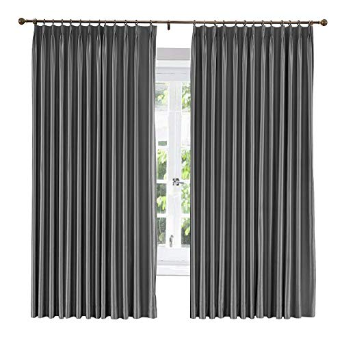 """ChadMade Soundproof Energy Saving Polyester Cotton Silk Solid Curtain Dark Grey 50"""" W x 102"""" L, Pinch Pleated Silk Satin Drapery Window Treatment Panels with Blackout Lined (1 Panel)"""