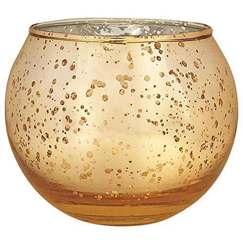 Just Artifacts Round Mercury Glass Votive Candle Holder 3.5-Inch Speckled Gold (Set of 12)