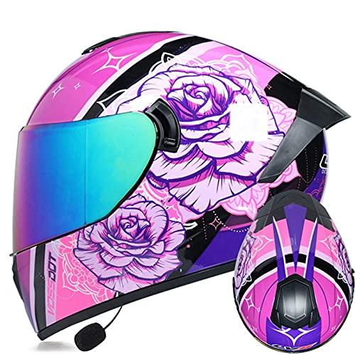 Casco De Moto Integral Personalizado Bluetooth Integrado Certificación ECE Casco De Motocicleta Casco De Scooter Ciclomotor Doble Visera Casco Para Moto Integral Para Mujer Hombre N,XL