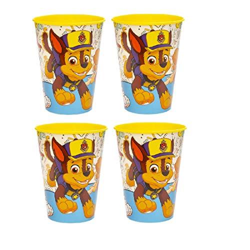 Familienkalender 4 vasos compatibles con la Patrulla Canina para niños, 250 ml, aptos para microondas con Chase, Rocky y Marschall, para niños, niñas, jóvenes, regalo, sin BPA, color amarillo