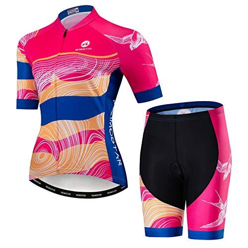 Conjunto de camiseta de ciclismo para mujer de bicicleta de montaña, almohadilla de gel 3D, Cf2089, S(Ht61-63' Wt99-110lbs)