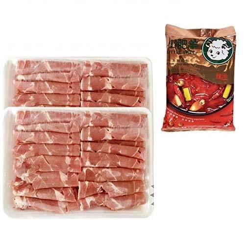 羊肉片2パック+小肥羊辣湯火鍋底料(辛味鍋の素)1点 ラムしゃぶと火鍋調味料のセット シャオフェイヤン