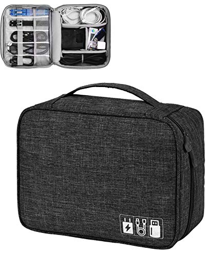 House of Quirk Electronics Accessories Organizer Bag, Universal Carry Travel Gadget Bag for Cables, Plug and More, Perfect Size Fits for Pad Phone Charger Hard Disk - Black