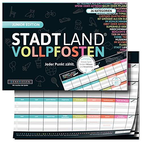 DENKRIESEN - Stadt Land VOLLPFOSTEN® - JUNIOR Edition - Für Kinder und Jugendliche | Spielblock...