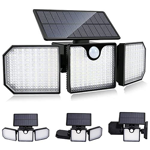 Luce Solare LED Esterno Elekin IP65 Faro Led Esterno con Pannello Solare 230 LED Faretto Led da Esterno Solare con Sensore di Movimento 2200mAh 270°Regolabile Luci Solari Esterno per Giardino Parete