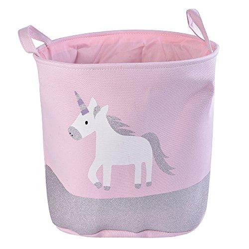 URIJK Cesta de almacenamiento de juguetes de unicornio - impermeable y bonito organizador de juguetes para bebés - plegable y portátil bolsa de almacenamiento