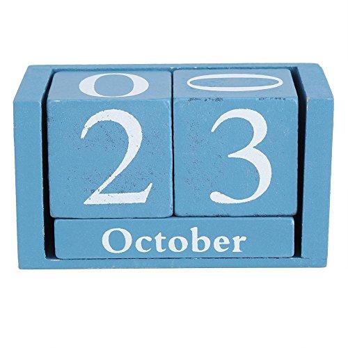 Zerodis Calendario de Adviento Hechos a Mano Calendario Perpetuo de Madera Diversión Peculiar de Navidad o Idea del Regalo de Cumpleaños, Tamaño 9.4 x5.2 x 4.1cm(Blue)
