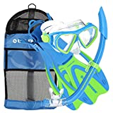 U.S. Divers Junior Kids Dorado Mask, Proflex Fins, Sea Breeze Snorkel Set with Carry Travel Bag, Yellow/Blue