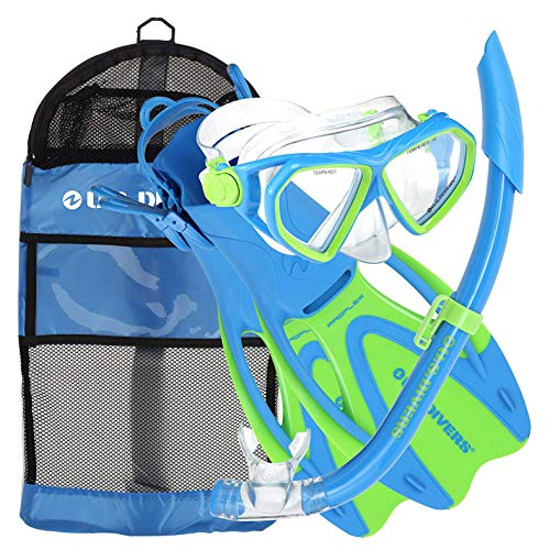 U.S. Divers Junior Kids Dorado Mask, Proflex Fins, Sea Breeze Snorkel Set with Carry Travel Bag, Yellow/Blue