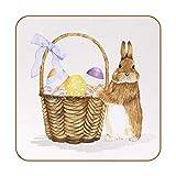 6 posavasos con imagen y texto personalizables para inauguración de la casa, regalos de anfitriona, registro de boda, decoración de habitación, conejo de Pascua con cesta de huevos