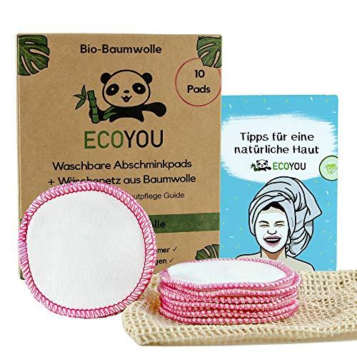 EcoYou® Abschminkpads Waschbar aus BIO-Baumwolle 10 St. PINK Zero Waste Wattepads + WÄSCHENETZ aus Baumwolle Make Up Entferner Pads + Hautpflege GUIDE Wiederverwendbare Pads
