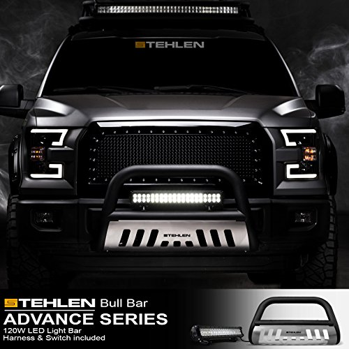 Stehlen 714937188006 3' Classic Series Bull Bar (Matte Black/Brush Aluminum Skid Plate) with 120W CREE LED Light Bar For 2007-2020 Toyota Tundra / 2008-2020 Sequoia