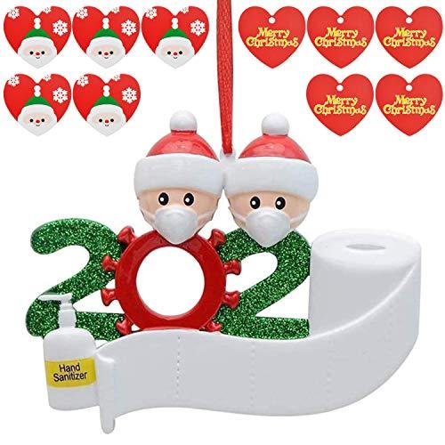 BEIFON Weihnachtsschmuck 2020 Personalisierte Familie Weihnachten Hängende Dekoration 2 Personen Überlebende Familie Weihnachtsbaum Ornament mit Karten & Stift Weihnachtsbaumanhänger Deko