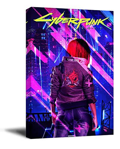 Cyber-punk 2077 - Póster enmarcado para pared de baño (30,5 x 45,7 cm), diseño de juego pop neón