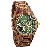 Treehut Men's Classic Multifunction Zebrawood Green Watch with Wood Strap Quartz Analog with Miyota Movement