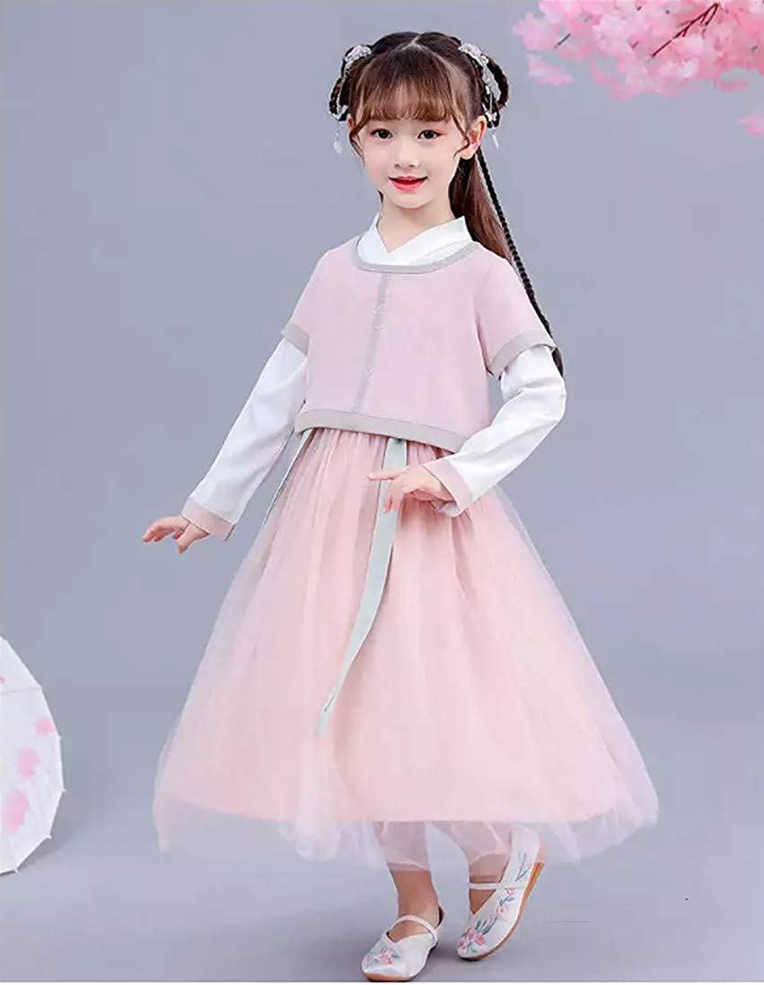 Cosplay Life Chinese Hanfu Dress for Girls Chinese New Year Dresses Short Sleeve Cheongsam Embroidered Autumn Outfit