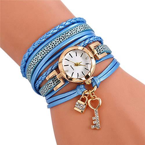 SANDA Reloj Mujer,Reloj de Pulsera de Cuero Trenzado con Llave explosiva Reloj de Cuarzo con Cuerda de Viento étnico-Azul Claro