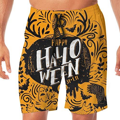 goodsaleA Mens Quick Dry Beach Shorts Elastic Waist Swim Trunks Bathing Suit Happy Halloween Lettering Logo. Greeting Card with Horns, Ghost, Wild Cat, XL