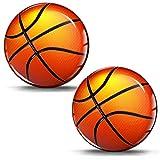SkinoEu® 2 x 30mm 3D Gel Silicona Stickers Pegatinas Adhesivo Basketball Ball Bola de Baloncesto Deporte Autos Coches Moto Ciclomotores Bicicletas Ordenador Portátil Tuning KS 25