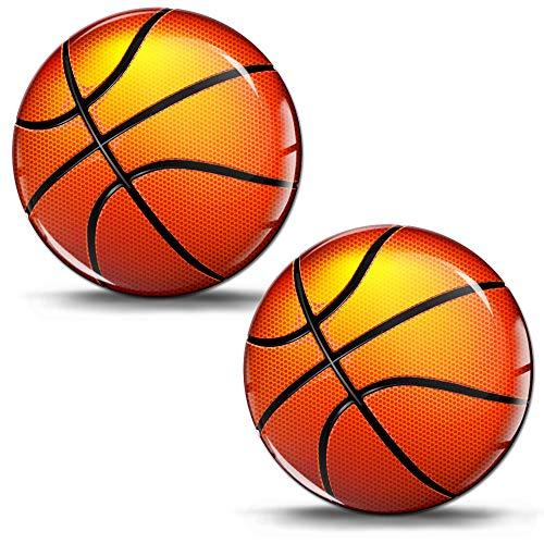 SkinoEu® 2 x Aufkleber 3D Gel Silikon Stickers Basketball Ball Sport Auto Moto Motorrad Fahrrad Skate Fenster Tür PC Tablet Laptop KS 25